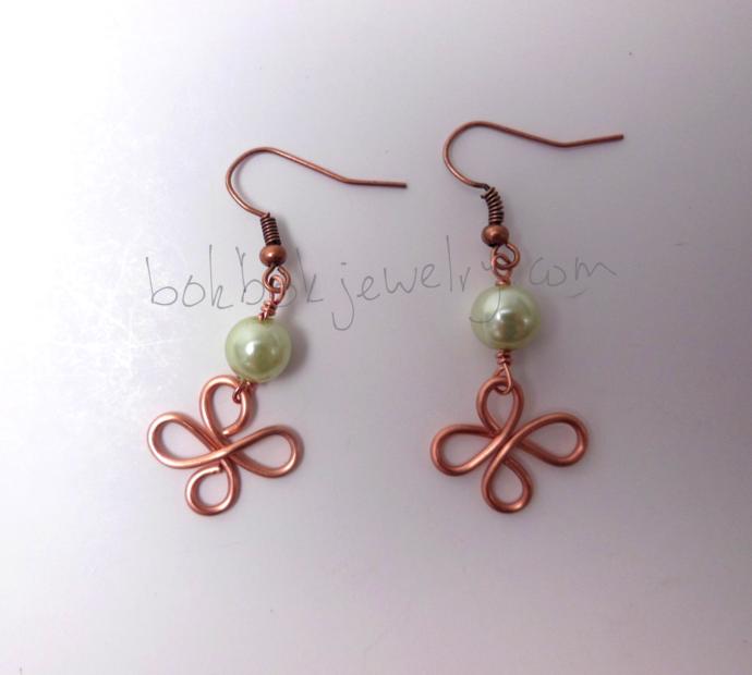 Handmade Copper Clover Leaf Earrings