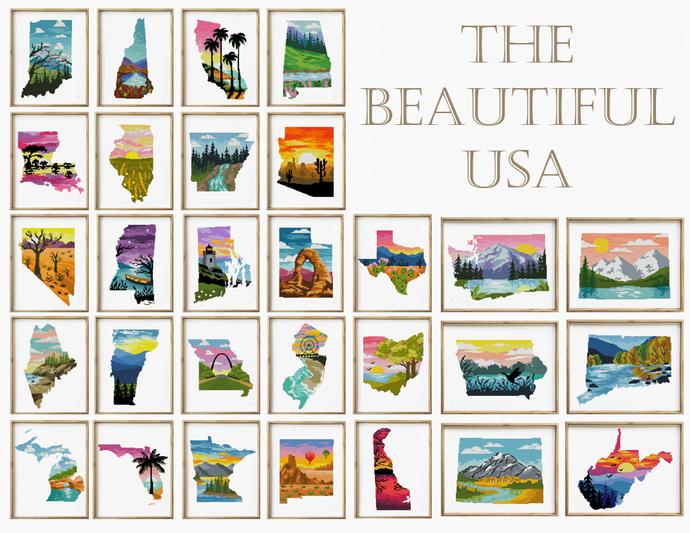 The Beautiful USA 50 in 1 counted cross stitch pattern Set of 50 patterns -