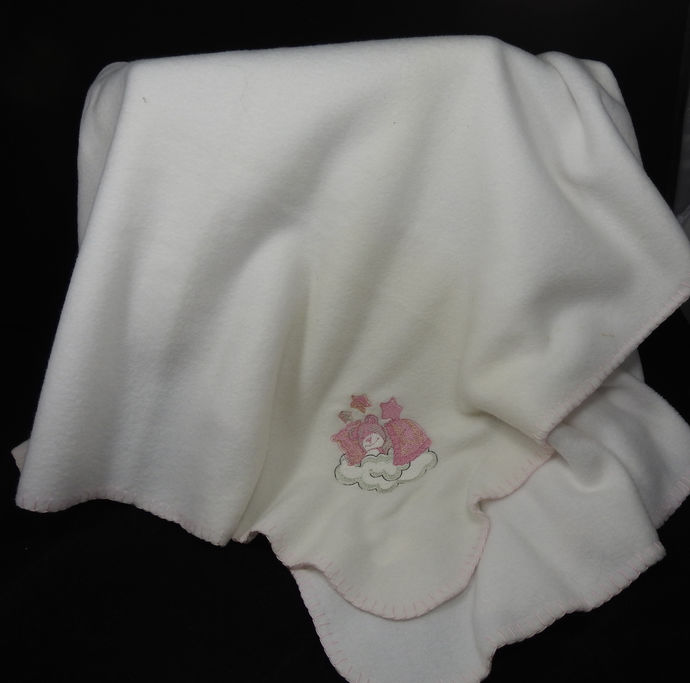 White Fleece Baby Blanket With Embroidered Teddy Bear– Free Shipping