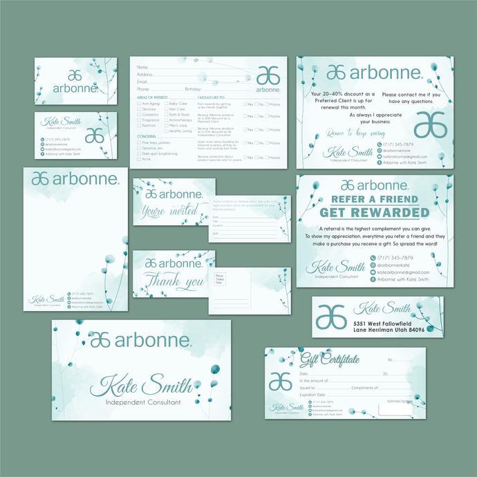 Personalized Arbonne Package, Arbonne Marketing Kit, Arbonne Consultant Cards,