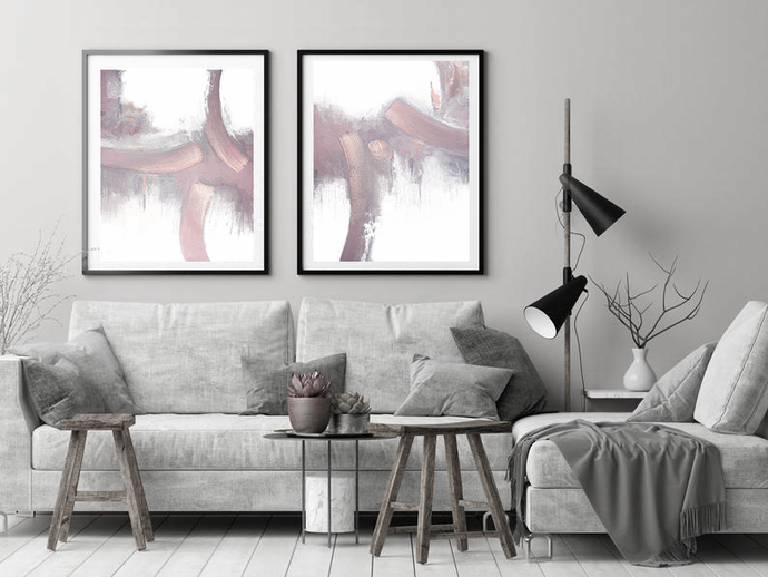 Contemporary Wall Art, Modern Art,Printable pink gray white , set of 2 pink wall