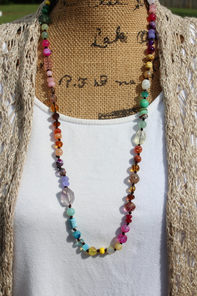 Unique Expression Multi-Color Long Beaded Necklace Hand knot Jewelry by