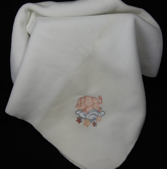 White Fleece Baby Blanket With Embroidered Elephant – Free Shipping
