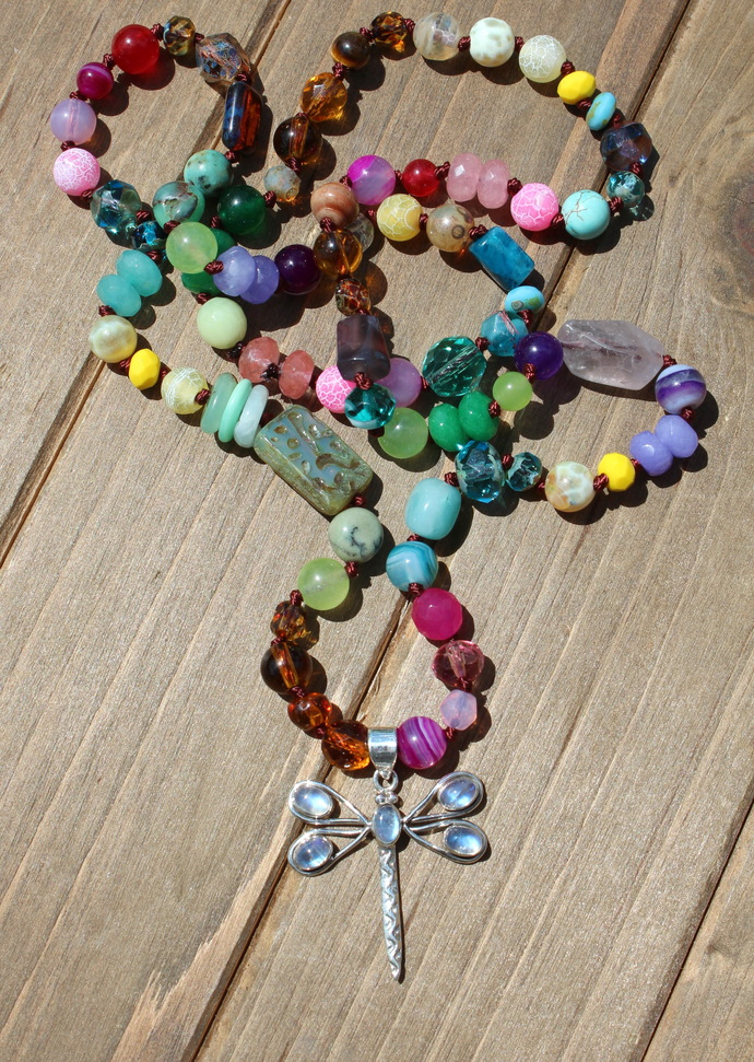 Magical Moonstone Dragonfly Long beaded Necklace with Pendant Hand knot Jewelry