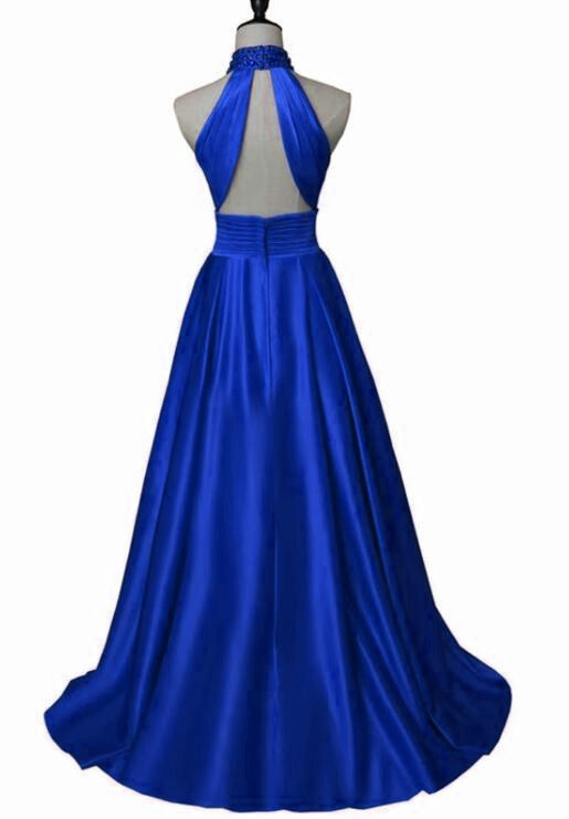 Beautiful Royal Blue Long Party Dress, A-line Halter Prom Dress