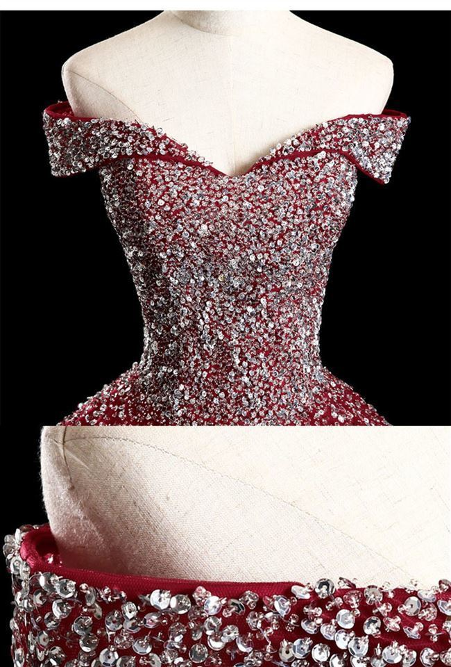 Charming Red Sparkle Long Tulle Prom Gowns, Sweet 16 Dresses