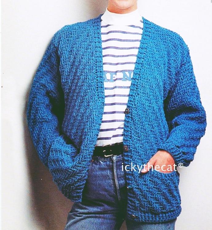 PDF Digital Download Vintage Crochet Pattern Ladies Herringbone Cardigan or