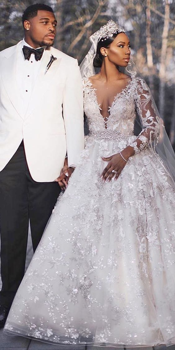 deep v neck white wedding dress ball gown 2021 vestido de noiva lace applique