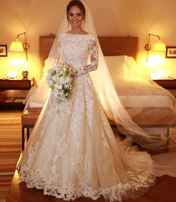 vintage wedding dresses 2020 vestido de noiva lace applique off white elegant