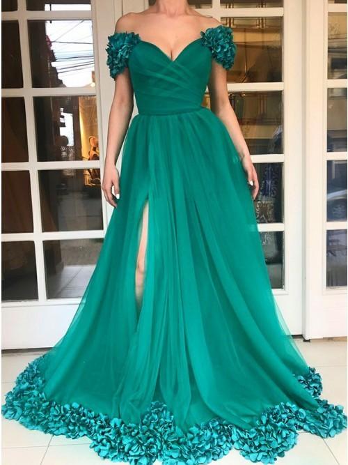 floral green prom dresses 2021 handmade flowers off the shoulder v neck elegant
