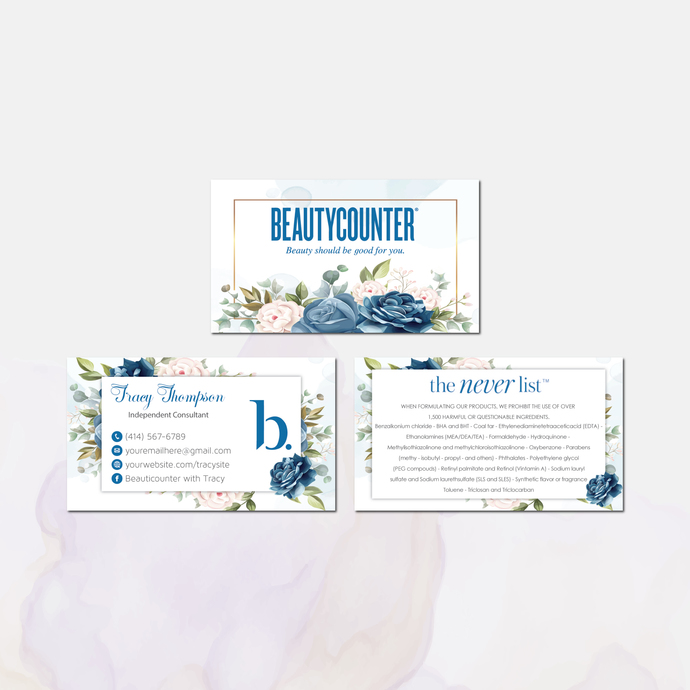 Beautycounter Business Card, Personalized Beautycounter Business Cards, Blue