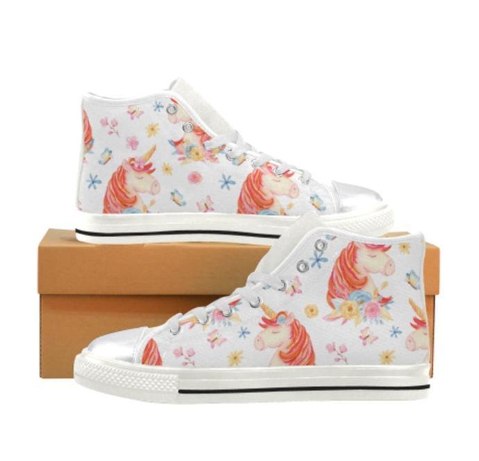 Unicorn Women's Classic High Top Canvas Shoes, Women's Canvas Shoes