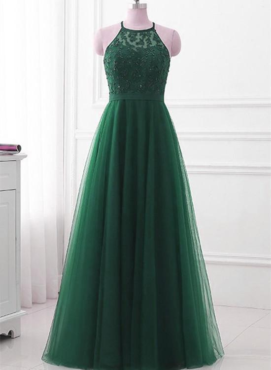 Beautiful Green Tulle Long Party Dress, Green Halter Bridesmaid Dress