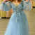Ball Gown Long Sleeves Blue Long Prom Dresses Formal Dress