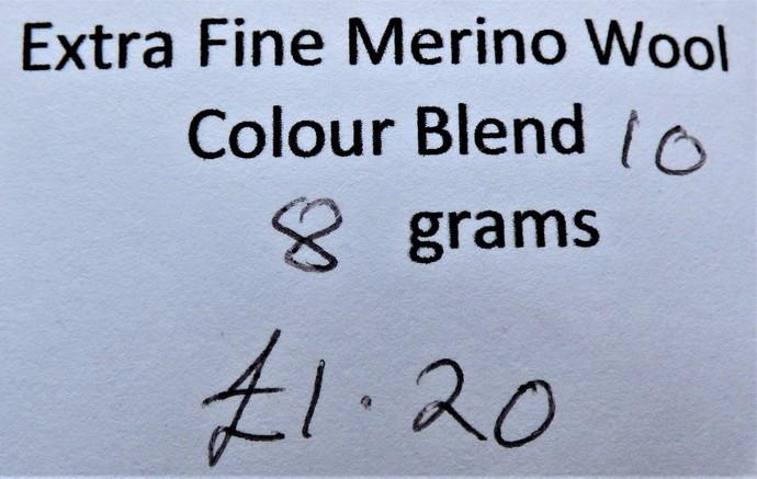 Extrafine Merino Wool For Felting - Random Dyed - 8 grams - Colour Blend 10 -