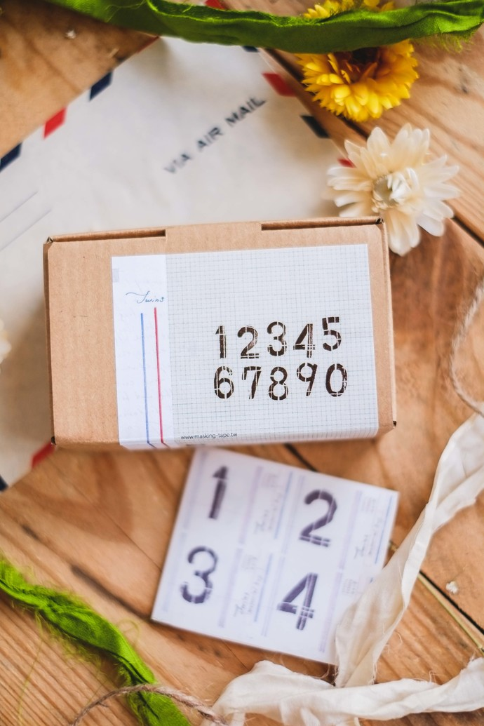 Chamil Garden Twins Numbers wooden stamp set in a cardboard box