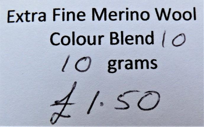 Extrafine Merino Wool For Felting - Random Dyed - 10 grams - Colour Blend 10 -