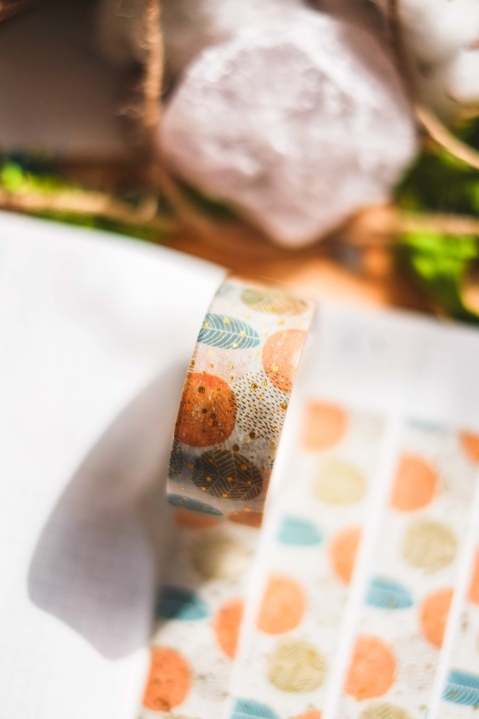 Warm Leaves - 2cm wide foil washi tape 10m - original design, perfect for