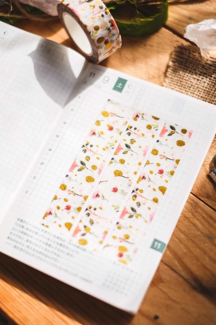 Meadow Flowers on White - 2cm wide foil washi tape 10m - original design,