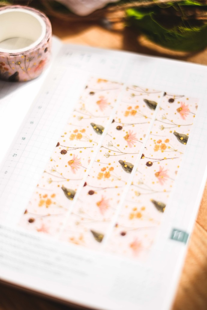 Meadow Flowers on Pink - 2cm wide foil washi tape 10m - original design, perfect