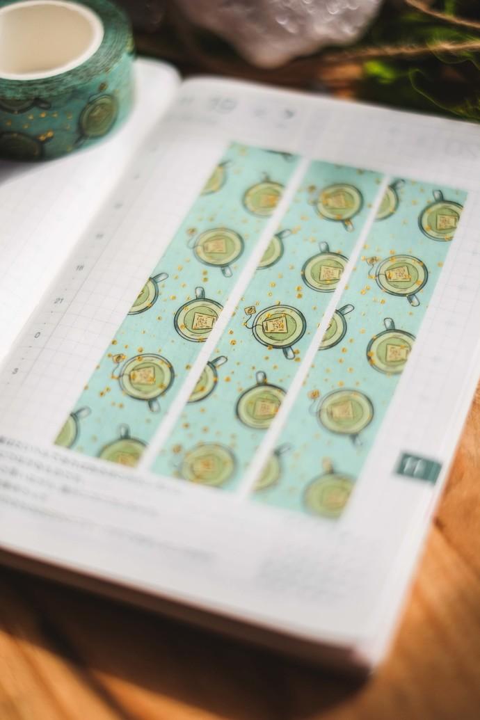 Cups of Tea - 2cm wide foil washi tape 10m - original design, perfect for