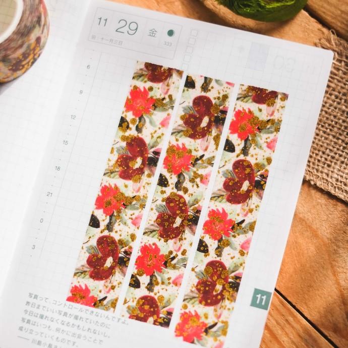 Red Paint Splashed Blooms - 2cm wide foil washi tape 10m - original design,