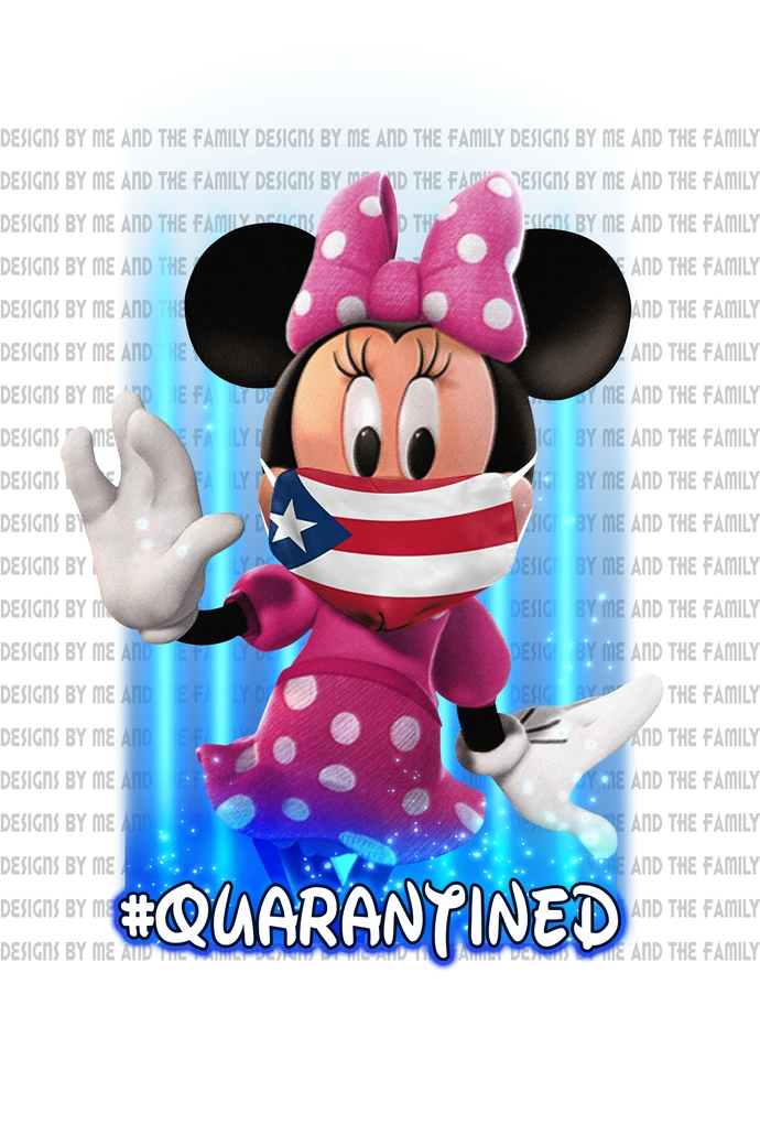 Minnie Quarantined, Puerto Rico Flag mask,we are all quarantined here,