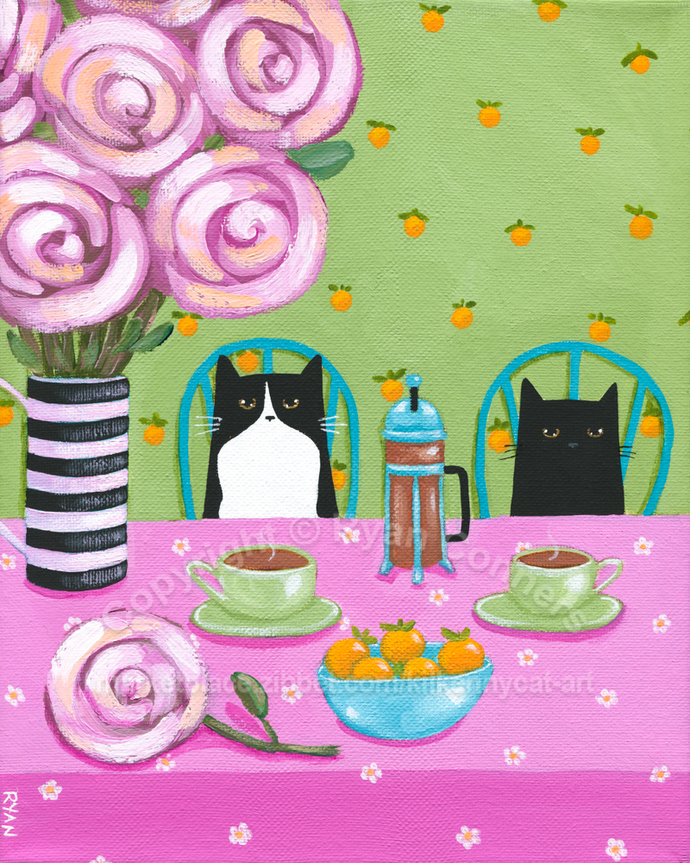 French Press Coffee and Cats Original Cat Folk Art Painting