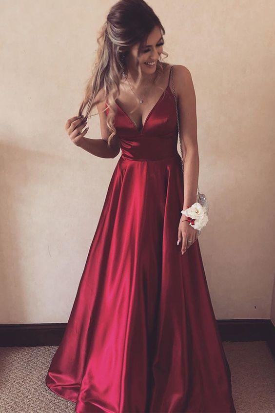 Charming Dark Red Satin Straps Long V-neckline Party Dress, A-line Prom Dress