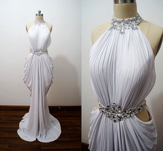 Sexy White Spandex Mermaid Halter Beaded Long Prom Dress, Evening Gown