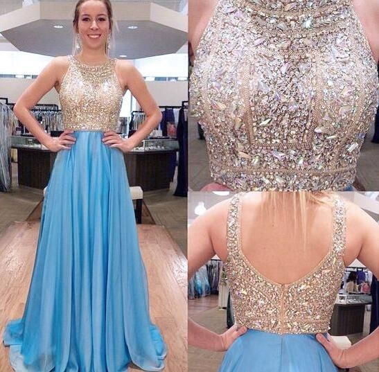 halter prom dresses long a line chiffon blue beaded sparkly luxury prom gown