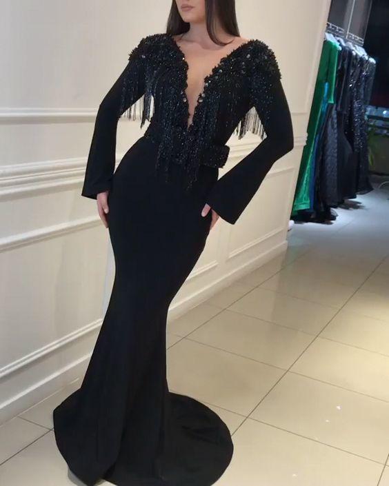 tassel evening dresses long deep v neck black beaded elegant mermaid evening