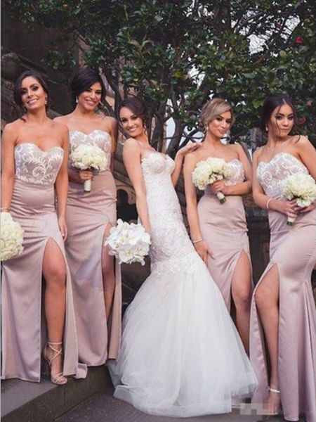 lace bridesmaid dresses long 2021 mermaid pink sweetheart neck elegant sexy