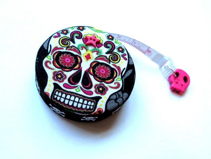 Measuring Tape Flowers Sugar Skulls Small Retractable Tape Measure