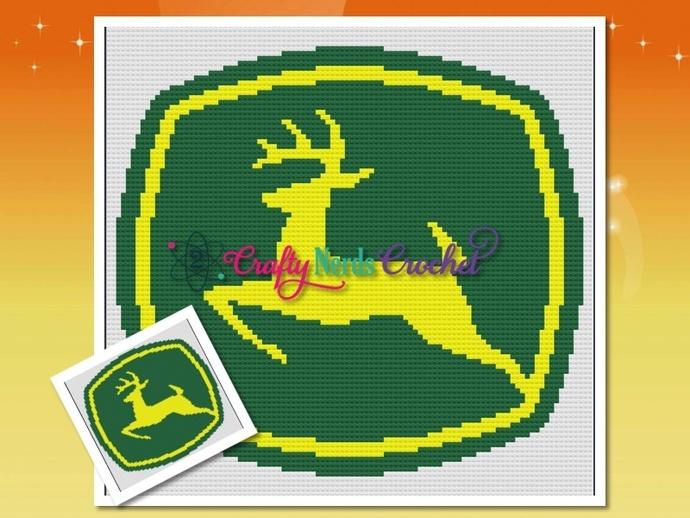 John Deere Logo 2 Pattern Graph With Mini C2C And Single Crochet Written