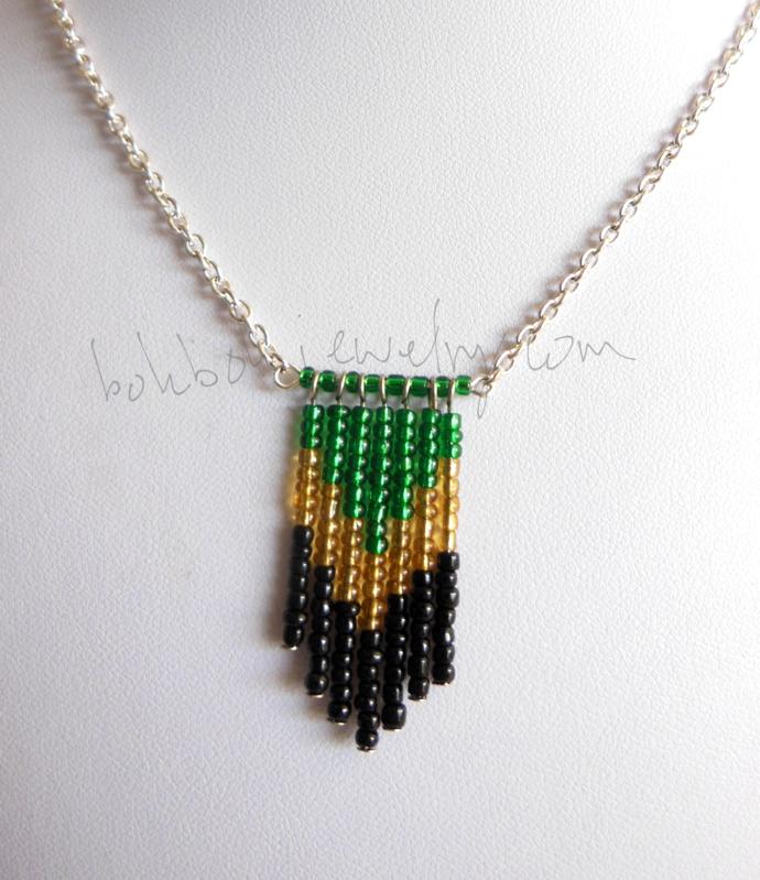 Handmade Seed Bead Chevron Pendant on Steel Chain