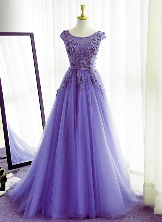 Charming Purple Tulle Party Dress, New Fashionable Evening Gown