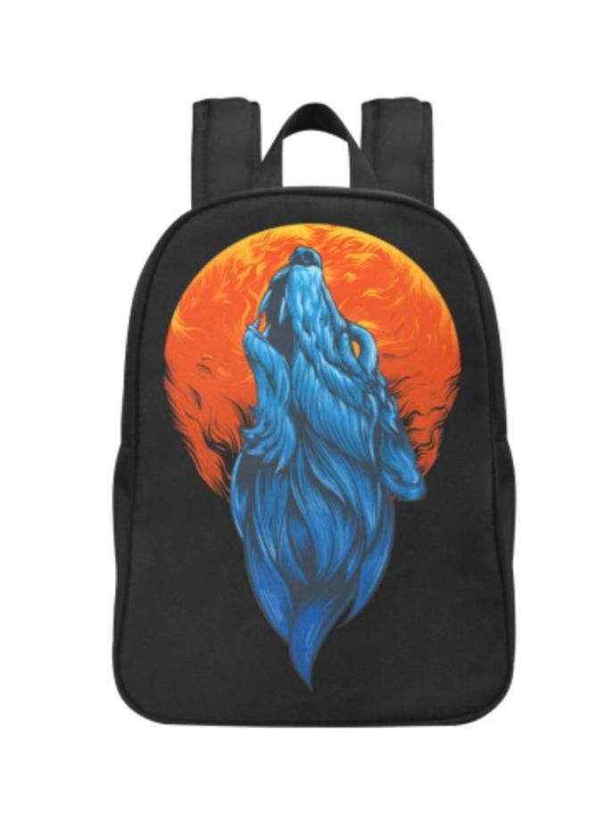 Wolf Graphic Fabric School Backpack