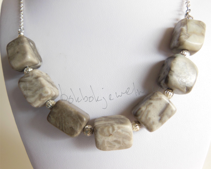 Handmade Silver and Gray Stone Marble Necklace