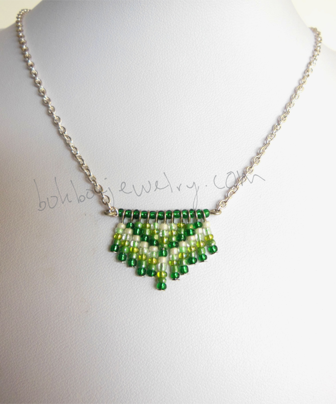 Handmade Green and Silver Beaded Chevron Necklace