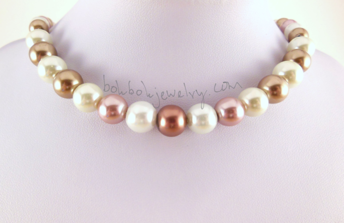 Handmade Tan, Brown, Pink, and White Pearl Necklace - Handformed Copper Clasp