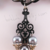 Handmade Black Chain Necklace with Scrollwork Drops and Pearls