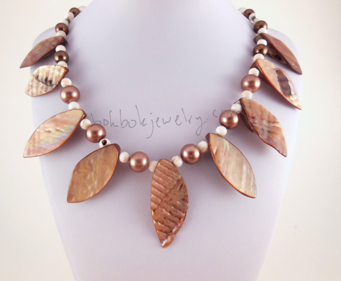 Handmade Shell Leaf Statement Necklace with Pearls