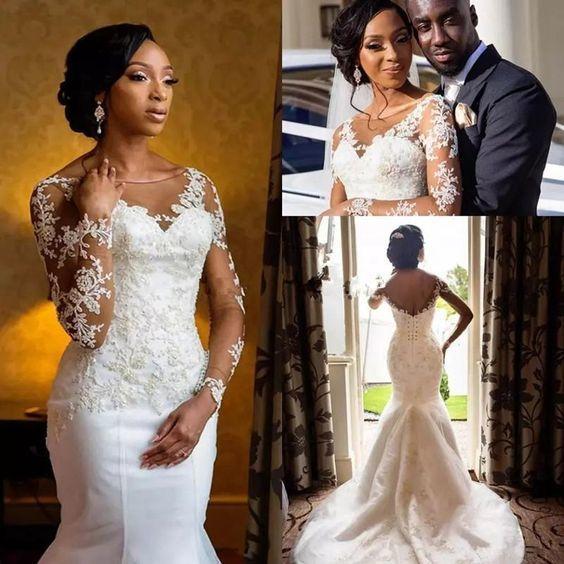mermaid wedding dresses for bride lace appliqué beaded cheap African elegant