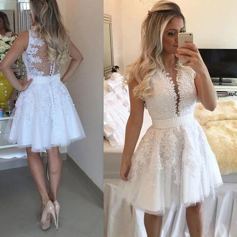 knee length white prom dresses short 2021 vestido de graduation lace appliqué