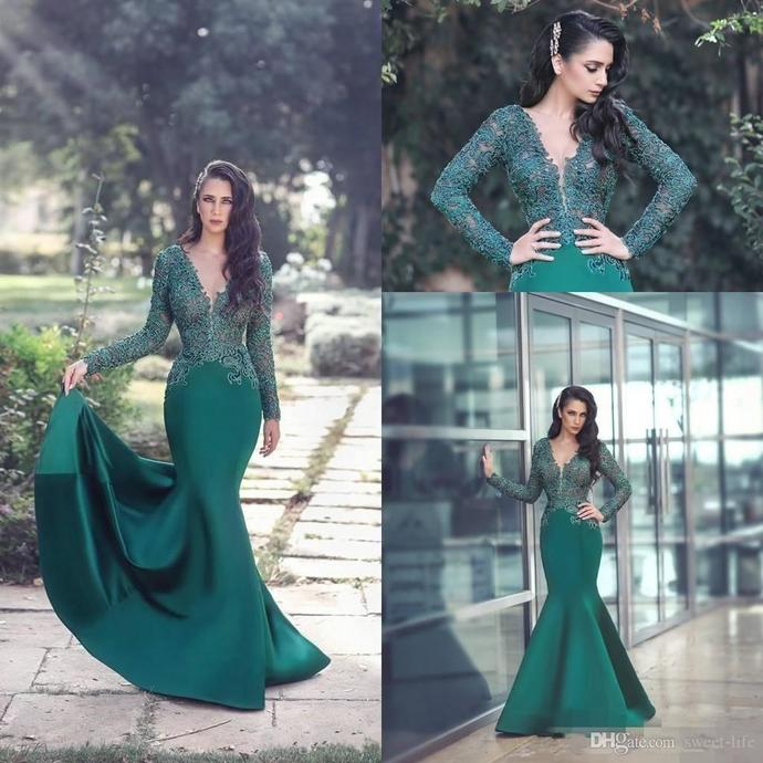 modest evening dresses long sleeve deep v neck green lace appliqué mermaid