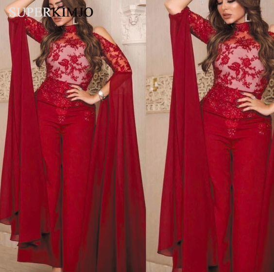 burgundy bridal jumpsuit for women lace applique pant suit for weddings 2021