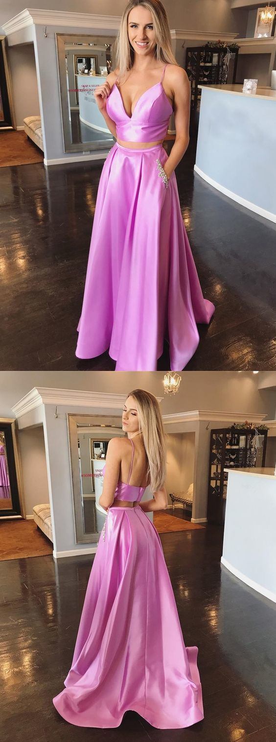 simple spaghetti straps long prom dress with pockets, chic beaded lilac two