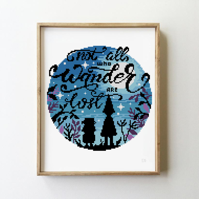 Not all who wonder are lost counted cross stitch pattern anime funny cute forest