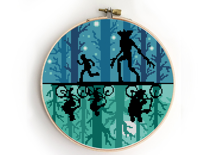 Upside down counted cross stitch pattern tv show kids in forest demon monster  -